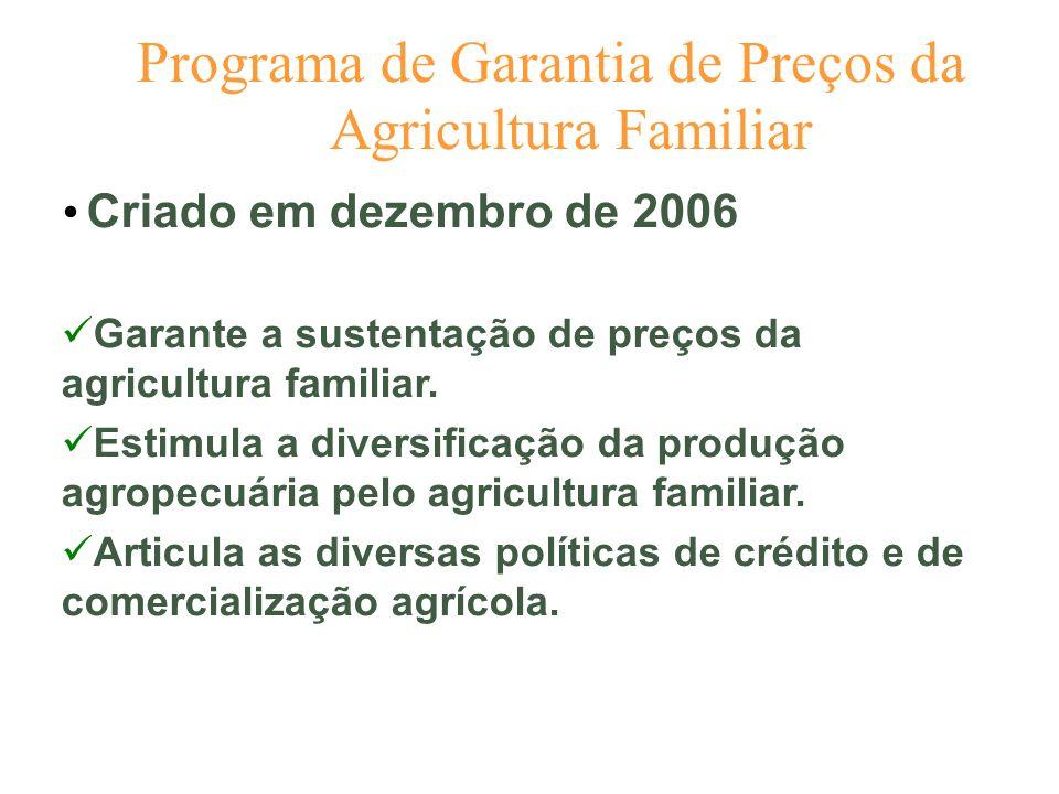 Programa de Garantia de Preços da Agricultura Familiar Criado em dezembro de 2006 Garante a sustentação de preços da agricultura familiar. Estimula a