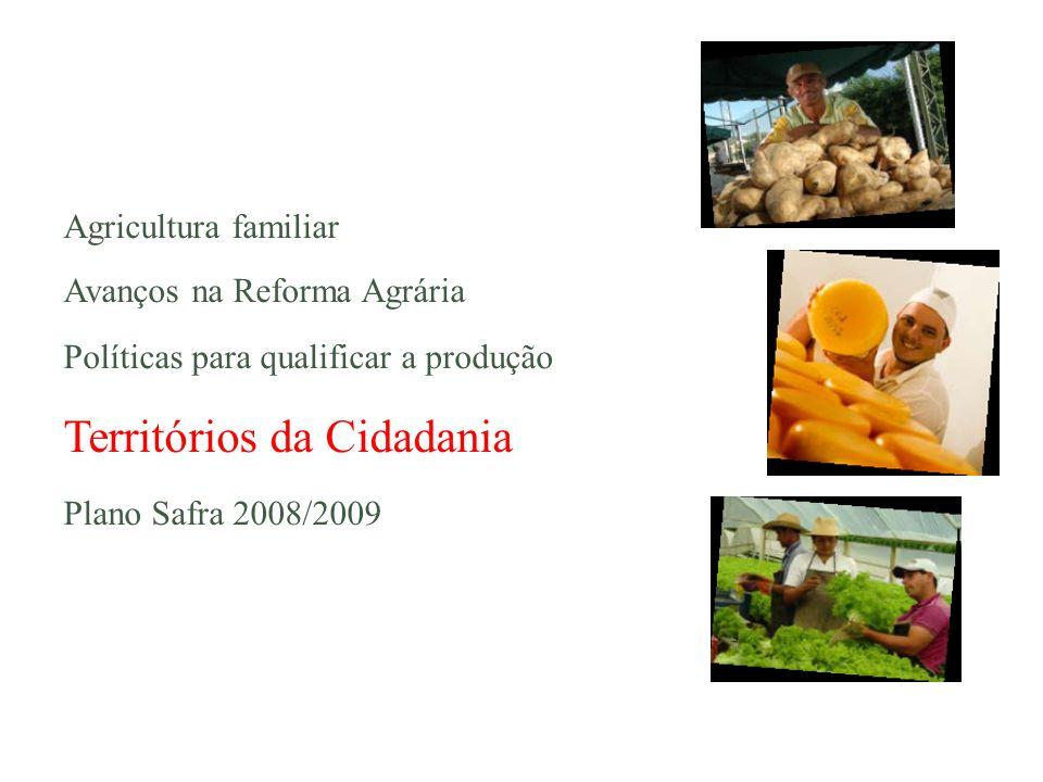 Agricultura familiar Avanços na Reforma Agrária Políticas para qualificar a produção Territórios da Cidadania Plano Safra 2008/2009