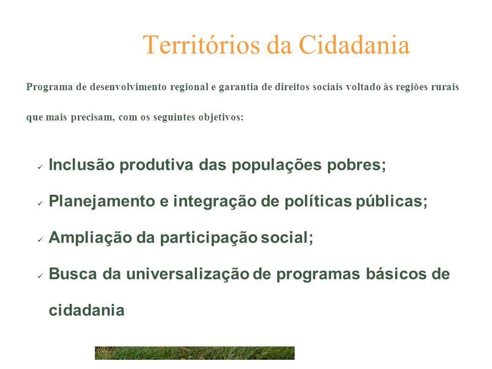 Territórios da Cidadania. Programa de desenvolvimento regional e garantia de direitos sociais voltado às regiões rurais que mais precisam, com os segu