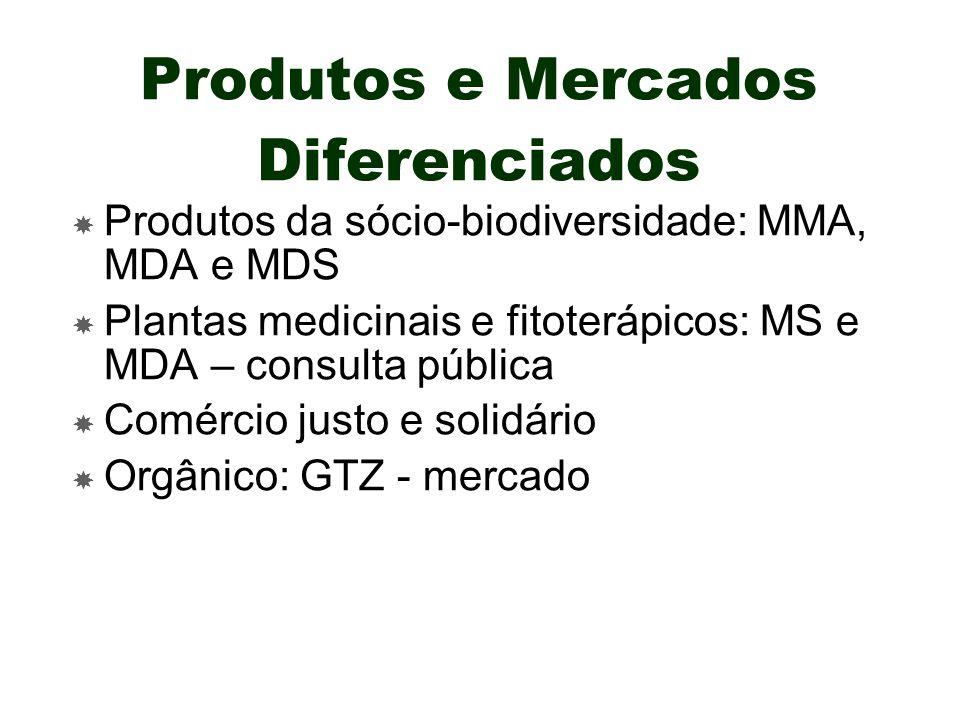 Produtos e Mercados Diferenciados Produtos da sócio-biodiversidade: MMA, MDA e MDS Plantas medicinais e fitoterápicos: MS e MDA – consulta pública Com