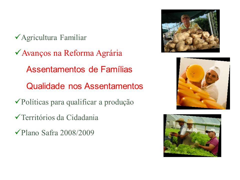 Agricultura Familiar Avanços na Reforma Agrária Assentamentos de Famílias Qualidade nos Assentamentos Políticas para qualificar a produção Territórios
