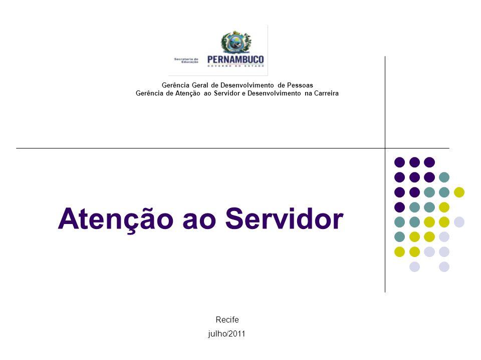 Atenção ao Servidor Gerência Geral de Desenvolvimento de Pessoas Gerência de Atenção ao Servidor e Desenvolvimento na Carreira Recife julho/2011