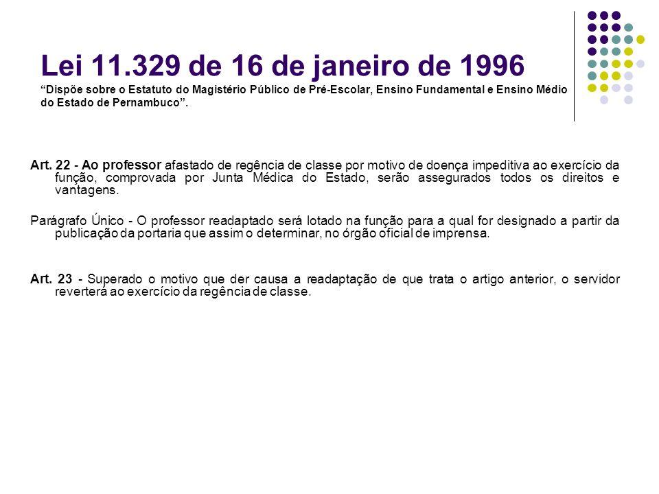 Lei 11.329 de 16 de janeiro de 1996 Dispõe sobre o Estatuto do Magistério Público de Pré-Escolar, Ensino Fundamental e Ensino Médio do Estado de Perna