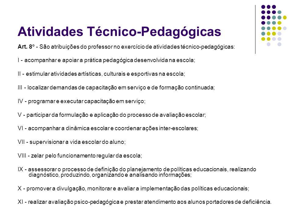 Atividades Técnico-Pedagógicas Art. 8º - São atribuições do professor no exercício de atividades técnico-pedagógicas: I - acompanhar e apoiar a prátic