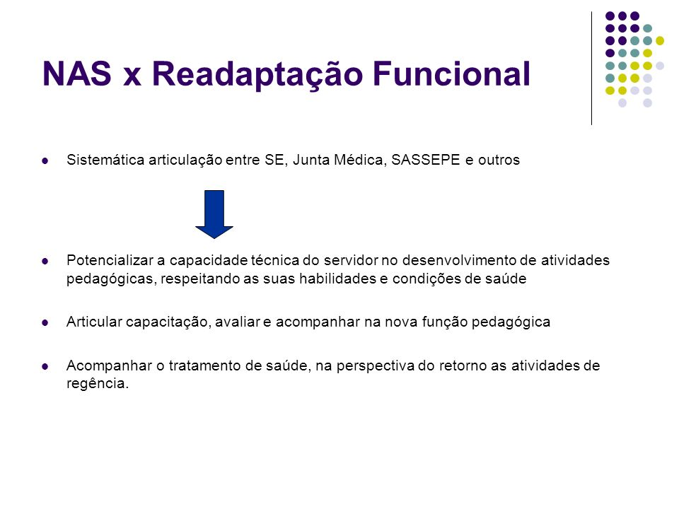 NAS x Readaptação Funcional Sistemática articulação entre SE, Junta Médica, SASSEPE e outros Potencializar a capacidade técnica do servidor no desenvo