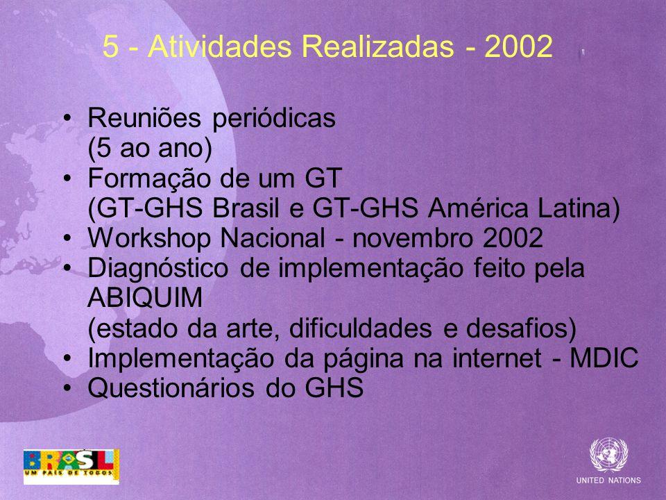 5 - Atividades Realizadas - 2002 Reuniões periódicas (5 ao ano) Formação de um GT (GT-GHS Brasil e GT-GHS América Latina) Workshop Nacional - novembro