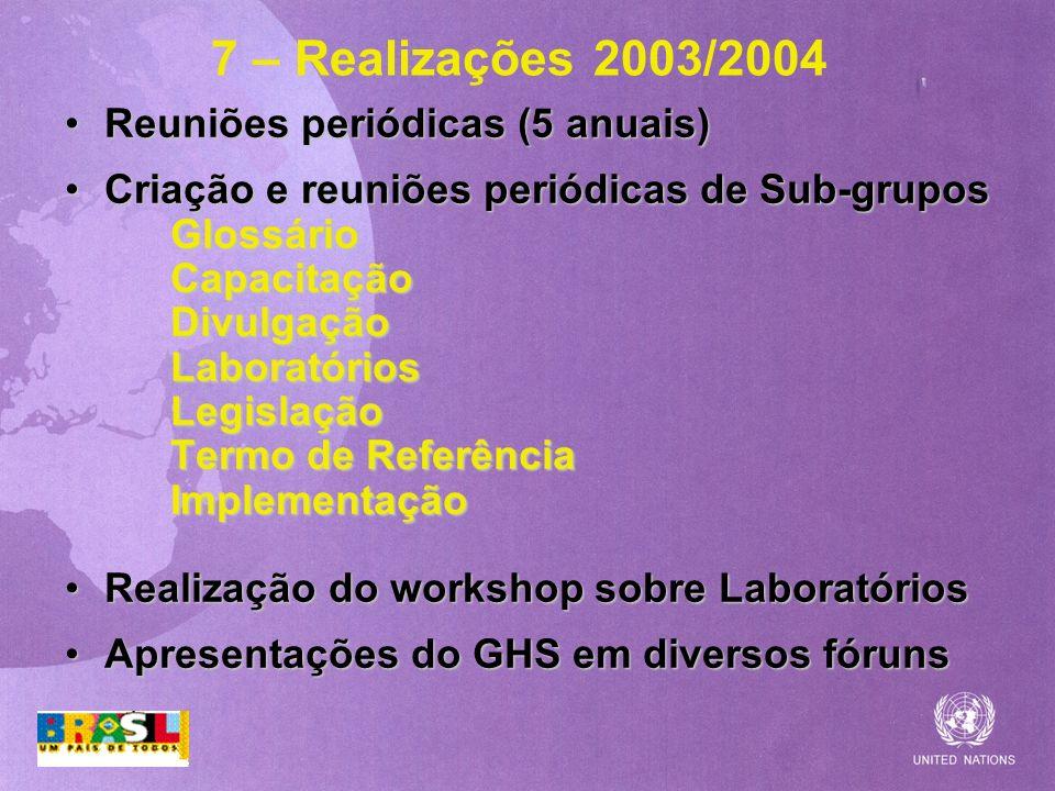 7 – Realizações 2003/2004 Reuniões periódicas (5 anuais)Reuniões periódicas (5 anuais) Criação e reuniões periódicas de Sub-gruposCriação e reuniões p