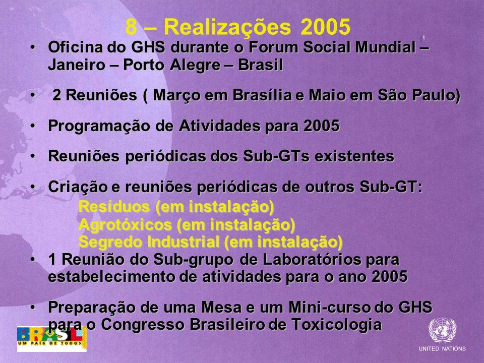 8 – Realizações 2005 Oficina do GHS durante o Forum Social Mundial – Janeiro – Porto Alegre – BrasilOficina do GHS durante o Forum Social Mundial – Ja