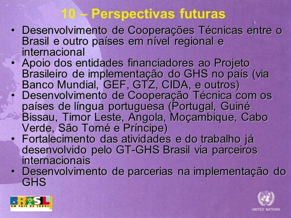 10 – Perspectivas futuras Desenvolvimento de Cooperações Técnicas entre o Brasil e outro países em nível regional e internacionalDesenvolvimento de Co
