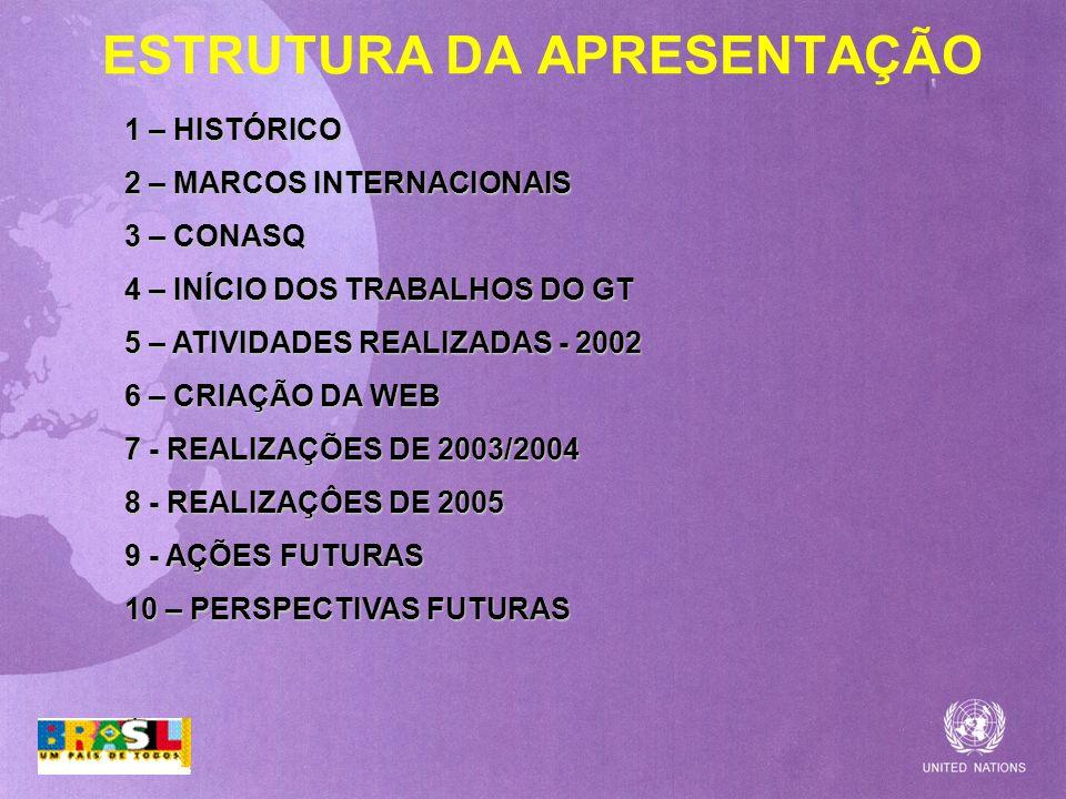 ESTRUTURA DA APRESENTAÇÃO 1 – HISTÓRICO 2 – MARCOS INTERNACIONAIS 3 – CONASQ 4 – INÍCIO DOS TRABALHOS DO GT 5 – ATIVIDADES REALIZADAS - 2002 6 – CRIAÇ