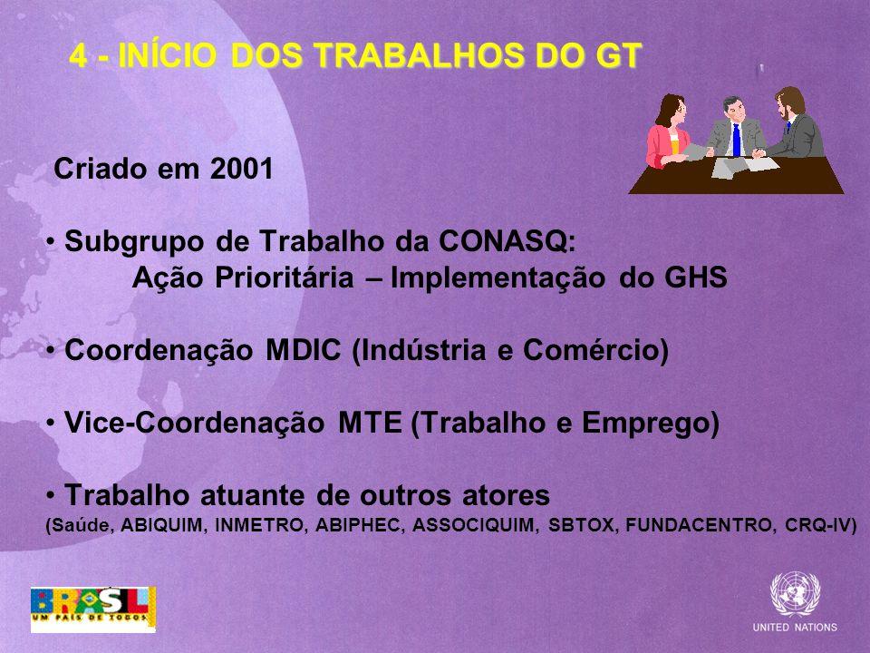 4 - INÍCIO DOS TRABALHOS DO GT Criado em 2001 Subgrupo de Trabalho da CONASQ: Ação Prioritária – Implementação do GHS Coordenação MDIC (Indústria e Co