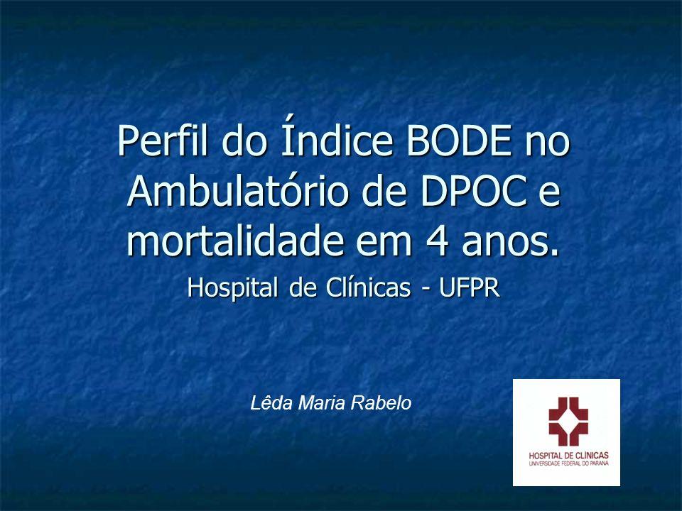 Lêda Maria Rabelo Perfil do Índice BODE no Ambulatório de DPOC e mortalidade em 4 anos. Hospital de Clínicas - UFPR