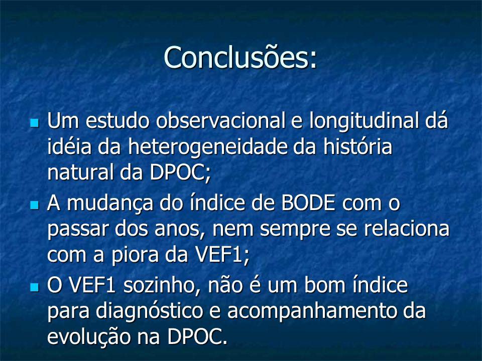 Conclusões: Um estudo observacional e longitudinal dá idéia da heterogeneidade da história natural da DPOC; Um estudo observacional e longitudinal dá