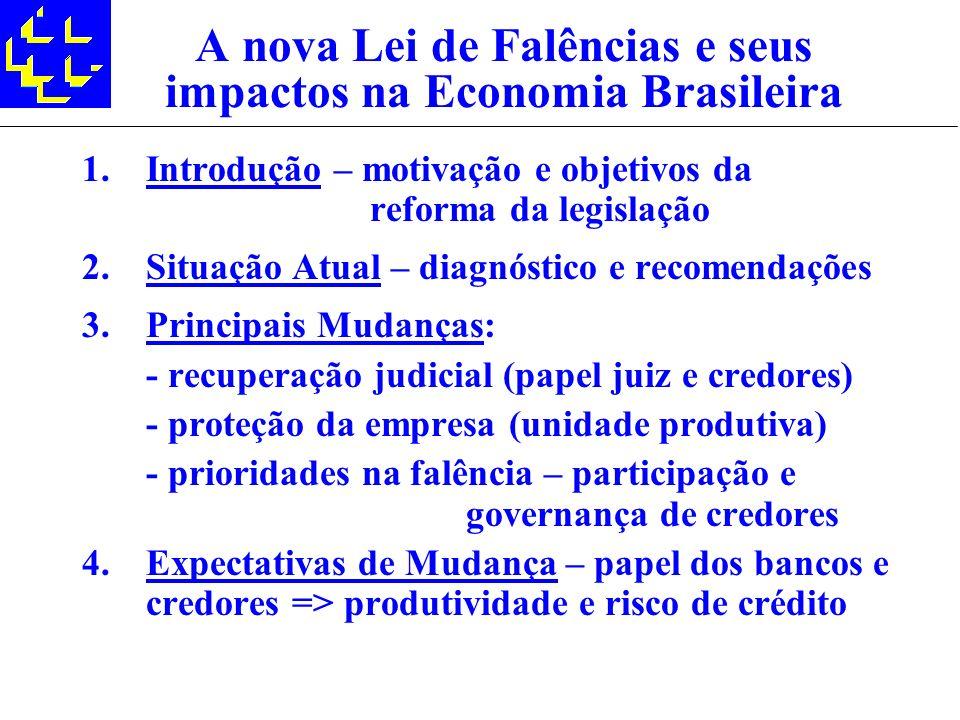A nova Lei de Falências e seus impactos na Economia Brasileira 1.Introdução – motivação e objetivos da reforma da legislação 2.Situação Atual – diagnó