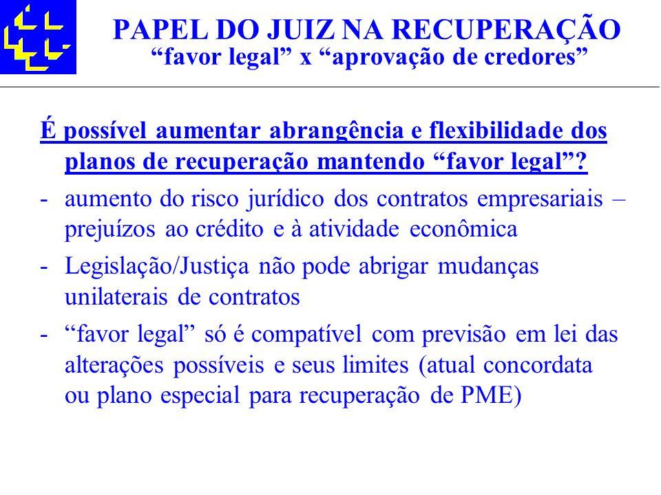 PAPEL DO JUIZ NA RECUPERAÇÃO favor legal x aprovação de credores É possível aumentar abrangência e flexibilidade dos planos de recuperação mantendo fa