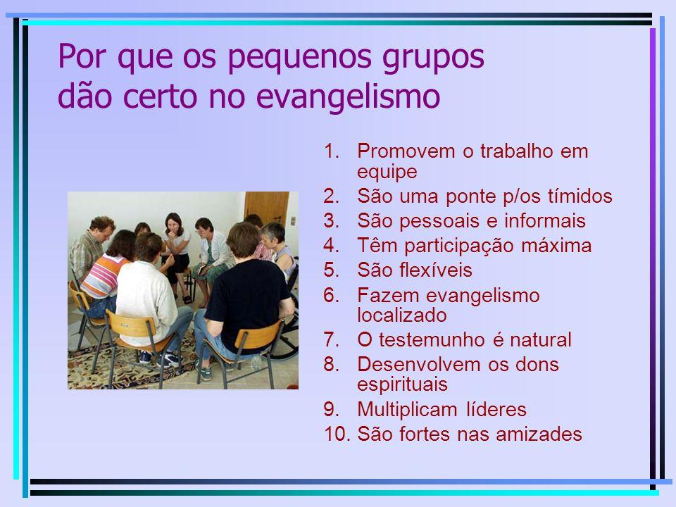 1.Promovem o trabalho em equipe 2.São uma ponte p/os tímidos 3.São pessoais e informais 4.Têm participação máxima 5.São flexíveis 6.Fazem evangelismo localizado 7.O testemunho é natural 8.Desenvolvem os dons espirituais 9.Multiplicam líderes 10.São fortes nas amizades Por que os pequenos grupos dão certo no evangelismo