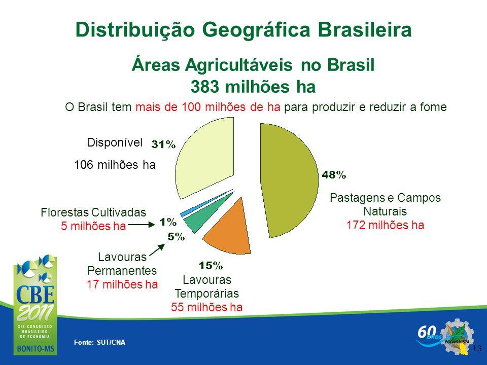 13 O Brasil tem mais de 100 milhões de ha para produzir e reduzir a fome Distribuição Geográfica Brasileira Áreas Agricultáveis no Brasil 383 milhões
