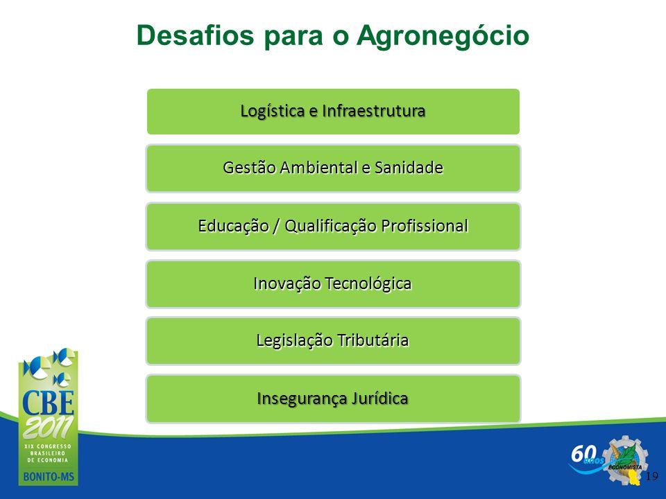 19 Logística e Infraestrutura Gestão Ambiental e Sanidade Educação / Qualificação Profissional Inovação Tecnológica Legislação Tributária Insegurança