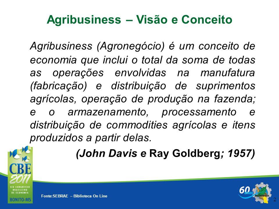 2 Fonte:SEBRAE – Biblioteca On Line Agribusiness – Visão e Conceito Agribusiness (Agronegócio) é um conceito de economia que inclui o total da soma de