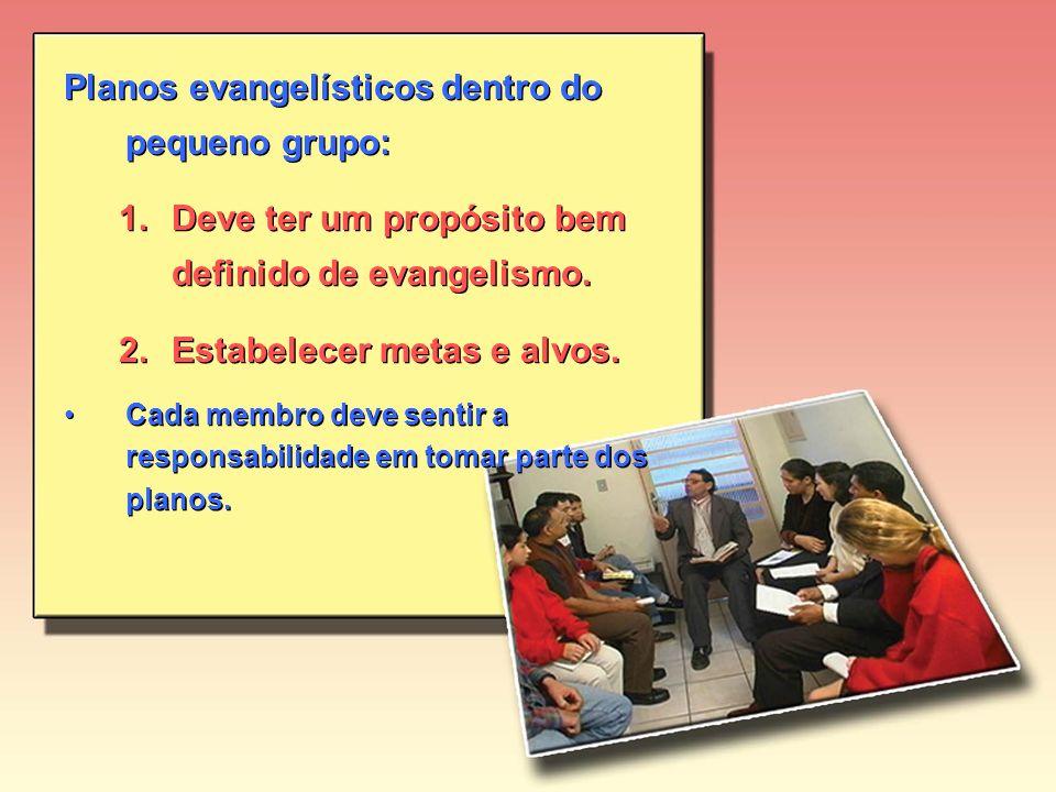 Planos evangelísticos dentro do pequeno grupo: 1.Deve ter um propósito bem definido de evangelismo.
