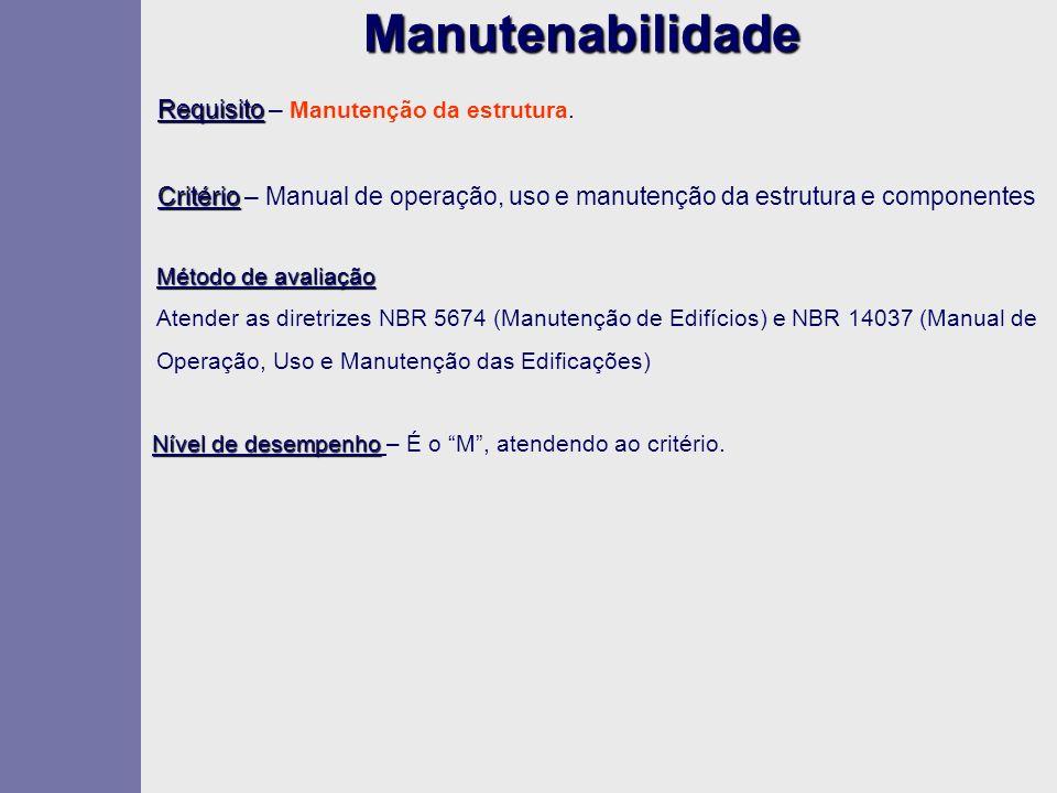 Manutenabilidade Requisito Requisito – Manutenção da estrutura. Critério Critério – Manual de operação, uso e manutenção da estrutura e componentes Mé