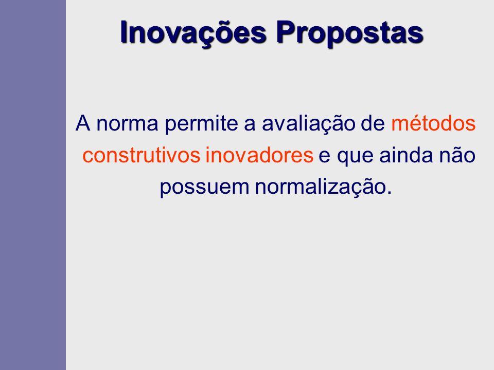 Inovações Propostas A norma permite a avaliação de métodos construtivos inovadores e que ainda não possuem normalização.