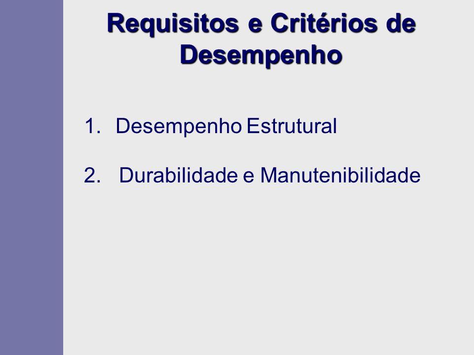Requisitos e Critérios de Desempenho 1.Desempenho Estrutural 2. Durabilidade e Manutenibilidade