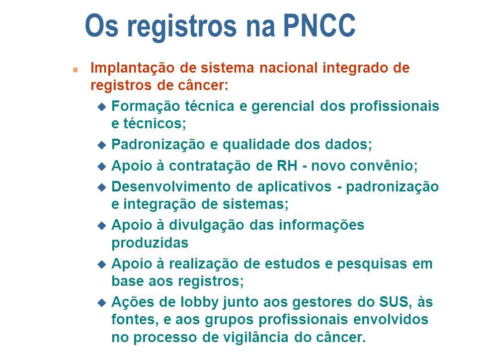 Os registros na PNCC n Implantação de sistema nacional integrado de registros de câncer: u Formação técnica e gerencial dos profissionais e técnicos;