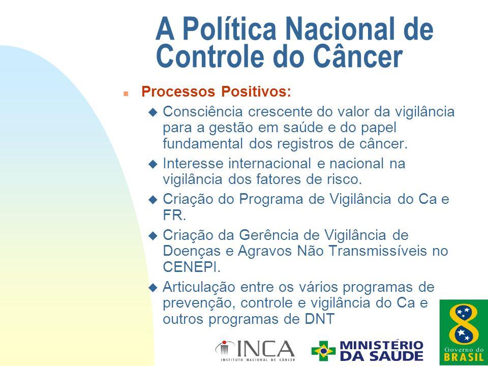 n Processos Positivos: u Consciência crescente do valor da vigilância para a gestão em saúde e do papel fundamental dos registros de câncer. u Interes