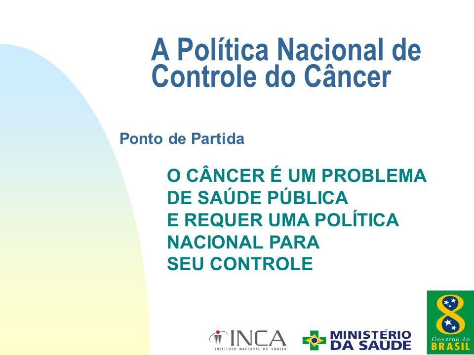 A Política Nacional de Controle do Câncer O CÂNCER É UM PROBLEMA DE SAÚDE PÚBLICA E REQUER UMA POLÍTICA NACIONAL PARA SEU CONTROLE Ponto de Partida