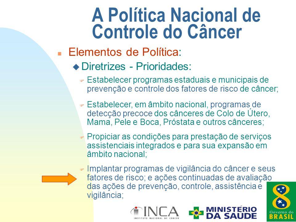 F Implantar programas de vigilância do câncer e seus fatores de risco; e ações continuadas de avaliação das ações de prevenção, controle, assistência