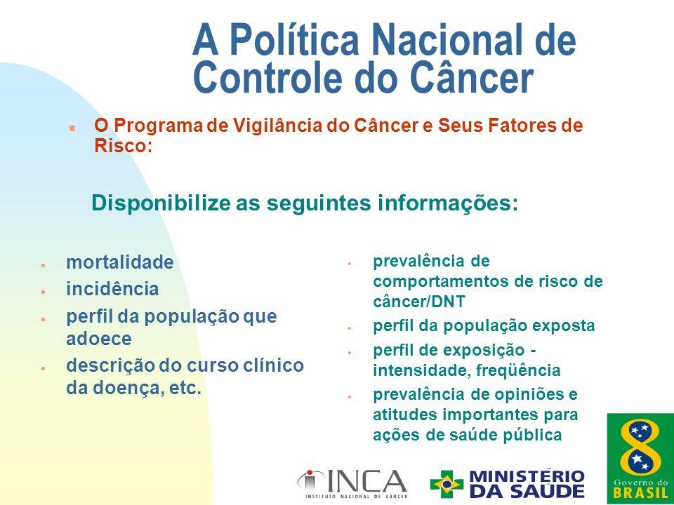 n O Programa de Vigilância do Câncer e Seus Fatores de Risco: A Política Nacional de Controle do Câncer mortalidade incidência perfil da população que