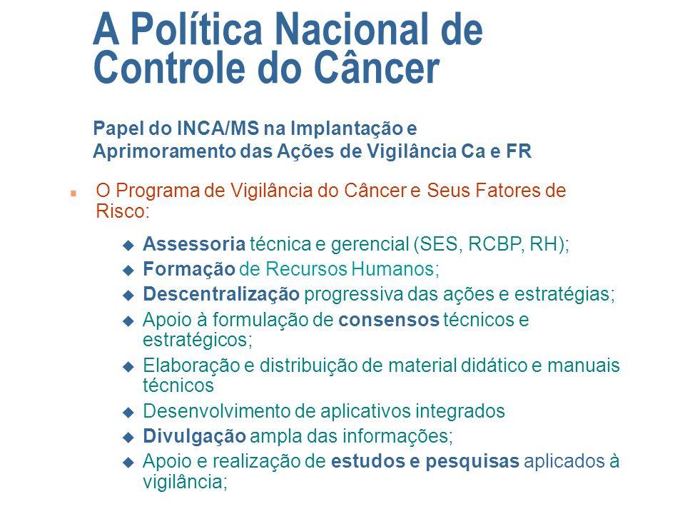n O Programa de Vigilância do Câncer e Seus Fatores de Risco: A Política Nacional de Controle do Câncer Papel do INCA/MS na Implantação e Aprimorament