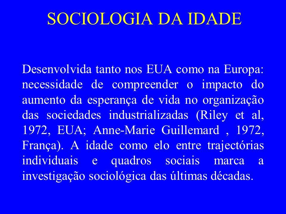 SOCIOLOGIA DA IDADE Desenvolvida tanto nos EUA como na Europa: necessidade de compreender o impacto do aumento da esperança de vida no organização das