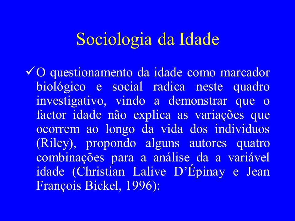 Sociologia da Idade O questionamento da idade como marcador biológico e social radica neste quadro investigativo, vindo a demonstrar que o factor idad