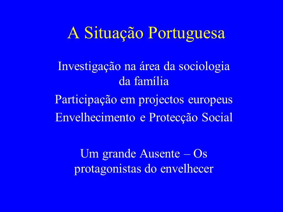 A Situação Portuguesa Investigação na área da sociologia da família Participação em projectos europeus Envelhecimento e Protecção Social Um grande Aus