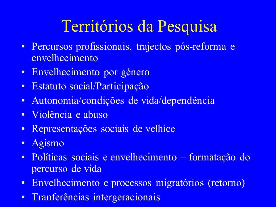 Territórios da Pesquisa Percursos profissionais, trajectos pós-reforma e envelhecimento Envelhecimento por género Estatuto social/Participação Autonom