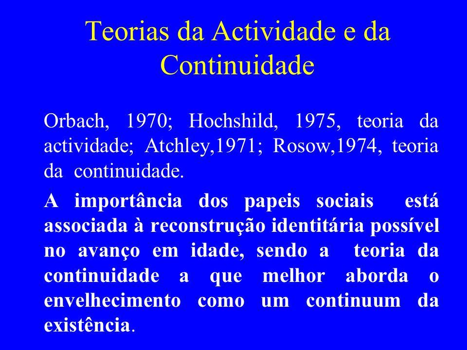 Teorias da Actividade e da Continuidade Orbach, 1970; Hochshild, 1975, teoria da actividade; Atchley,1971; Rosow,1974, teoria da continuidade. A impor