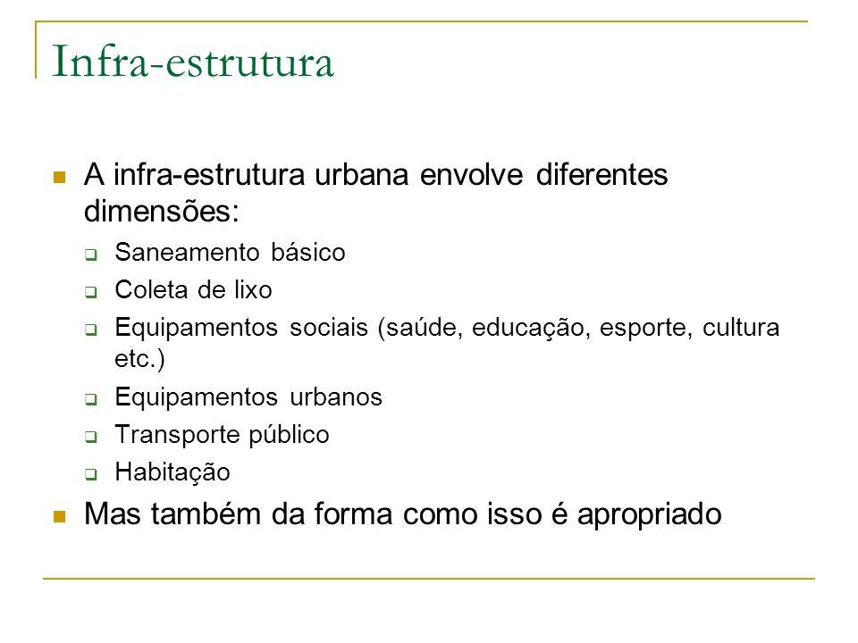 Infra-estrutura A infra-estrutura urbana envolve diferentes dimensões: Saneamento básico Coleta de lixo Equipamentos sociais (saúde, educação, esporte