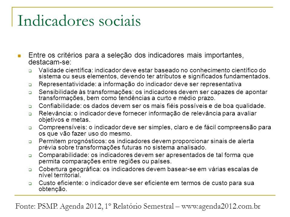 Indicadores sociais Entre os critérios para a seleção dos indicadores mais importantes, destacam-se: Validade científica: indicador deve estar baseado