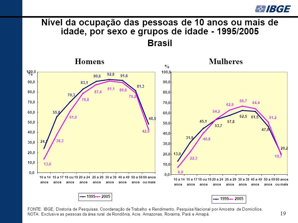 19 Nível da ocupação das pessoas de 10 anos ou mais de idade, por sexo e grupos de idade - 1995/2005 Brasil FONTE: IBGE, Diretoria de Pesquisas, Coordenação de Trabalho e Rendimento, Pesquisa Nacional por Amostra de Domicílios.