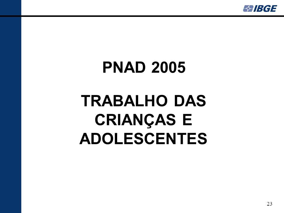 23 TRABALHO DAS CRIANÇAS E ADOLESCENTES PNAD 2005