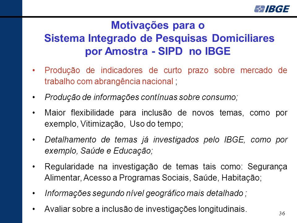 36 Produção de indicadores de curto prazo sobre mercado de trabalho com abrangência nacional ; Produção de informações contínuas sobre consumo; Maior