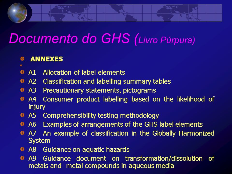 Documento do GHS ( Livro Púrpura) ANNEXES A1Allocation of label elements A2Classification and labelling summary tables A3Precautionary statements, pic
