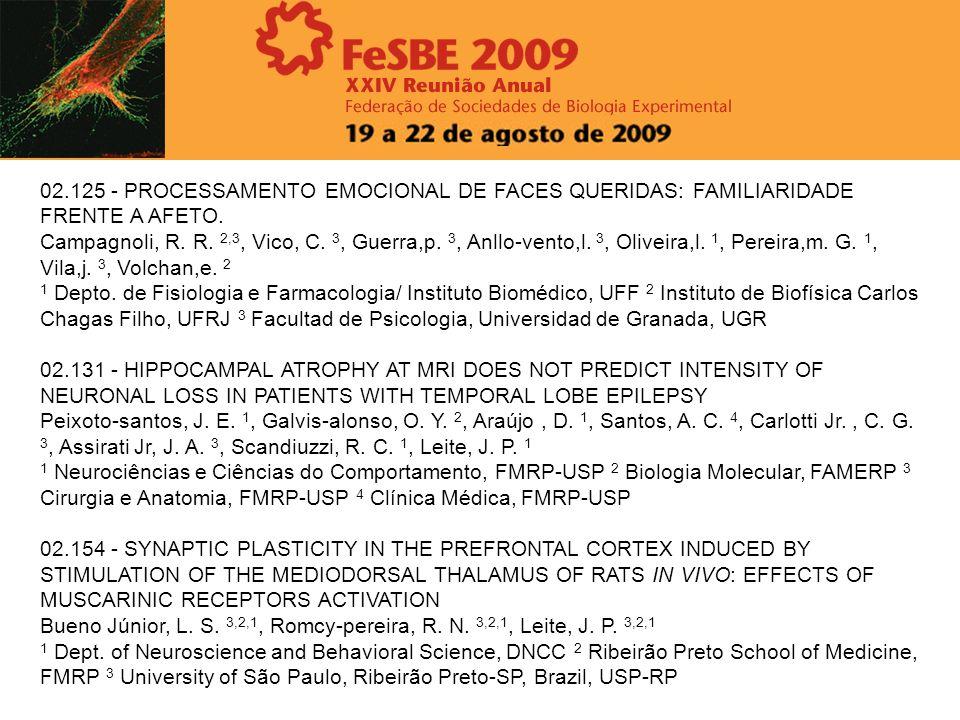 02.125 - PROCESSAMENTO EMOCIONAL DE FACES QUERIDAS: FAMILIARIDADE FRENTE A AFETO. Campagnoli, R. R. 2,3, Vico, C. 3, Guerra,p. 3, Anllo-vento,l. 3, Ol