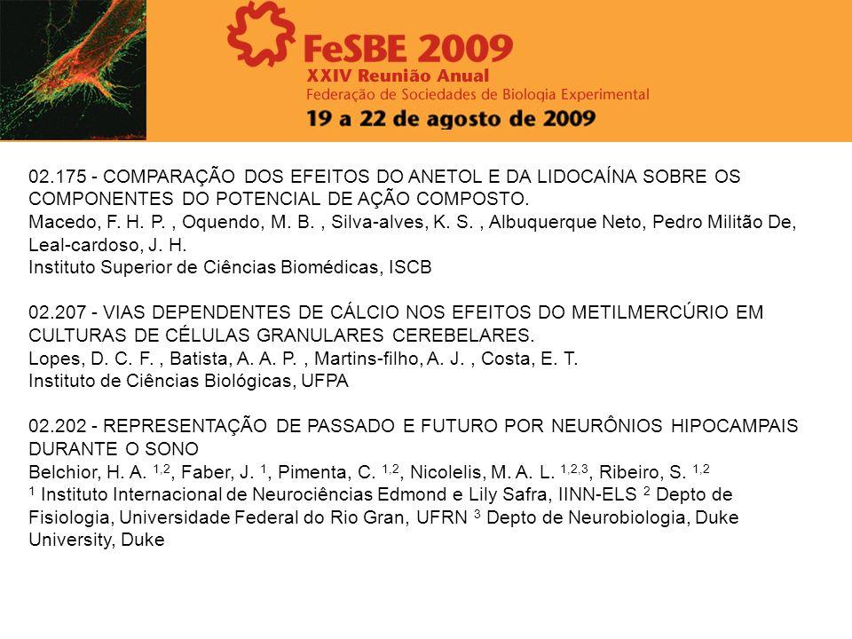 02.175 - COMPARAÇÃO DOS EFEITOS DO ANETOL E DA LIDOCAÍNA SOBRE OS COMPONENTES DO POTENCIAL DE AÇÃO COMPOSTO. Macedo, F. H. P., Oquendo, M. B., Silva-a