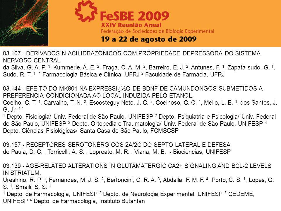 03.107 - DERIVADOS N-ACILIDRAZÔNICOS COM PROPRIEDADE DEPRESSORA DO SISTEMA NERVOSO CENTRAL da Silva, G. A. P. 1, Kummerle, A. E. 2, Fraga, C. A. M. 2,