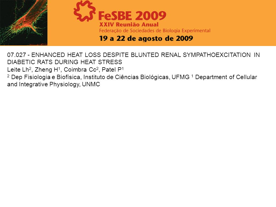 07.027 - ENHANCED HEAT LOSS DESPITE BLUNTED RENAL SYMPATHOEXCITATION IN DIABETIC RATS DURING HEAT STRESS Leite Lh 2, Zheng H 1, Coimbra Cc 2, Patel P