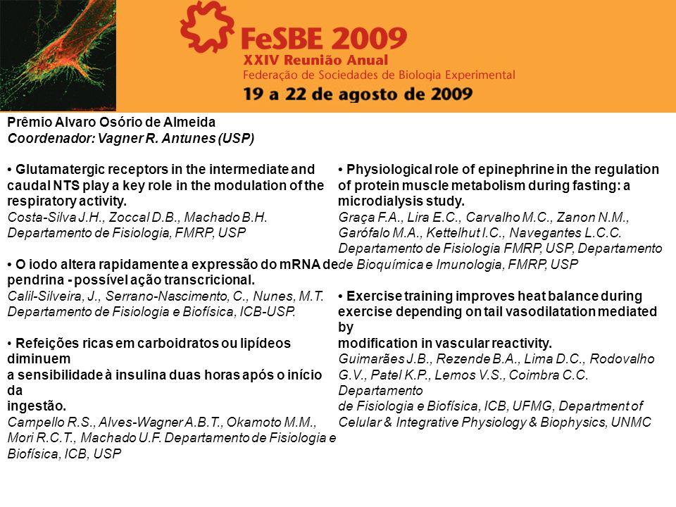 35.114 EFEITO DO FULERENO NA MEMÓRIA E SISTEMA DE DEFESA ANTIOXIDANTE EM CÉREBRO DE RATOS Castro, Mr, Dummer, Ns, Mesquita, K, Fillmann, G, Monserrat, Jm, Barros, Dm Intituto de ciências biológicas, FURG 35.099 - EFEITOS E ASPECTOS DA INTOXICAÇÃO, BIODISTRIBUIÇÃO E DETOXICAÇÃO DE MICROCISTINA-LR EM MAMÍFEROS.