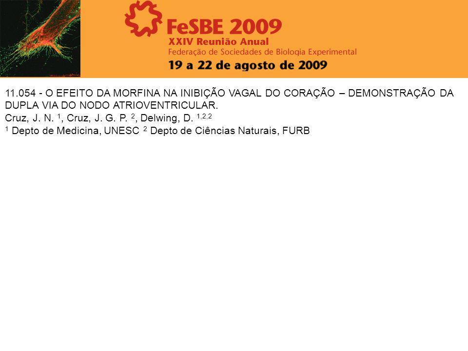 11.054 - O EFEITO DA MORFINA NA INIBIÇÃO VAGAL DO CORAÇÃO – DEMONSTRAÇÃO DA DUPLA VIA DO NODO ATRIOVENTRICULAR. Cruz, J. N. 1, Cruz, J. G. P. 2, Delwi